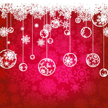 ball lights: Beautiful red happy Christmas card,winter holiday background.