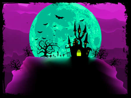 dreary: Scary halloween vector with magical abbey.