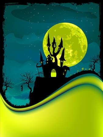 Illustration of dark scary halloween night.  Vector