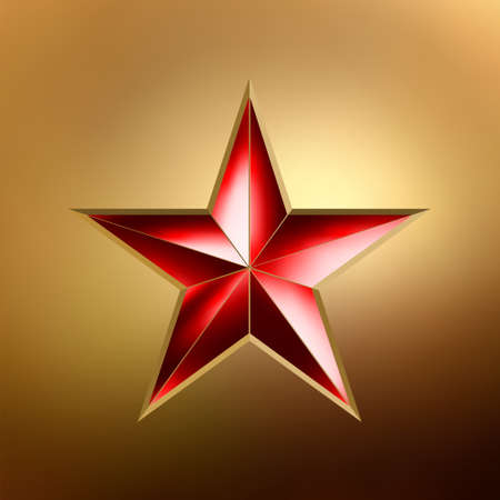 star signs: illustration of a Red star on gold background. Illustration