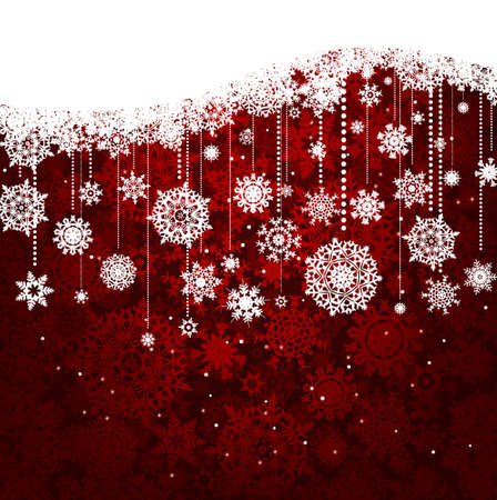 festoon: Red card with christmas snowflakes. Illustration