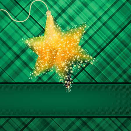 season s greeting: christmas stars on green background.