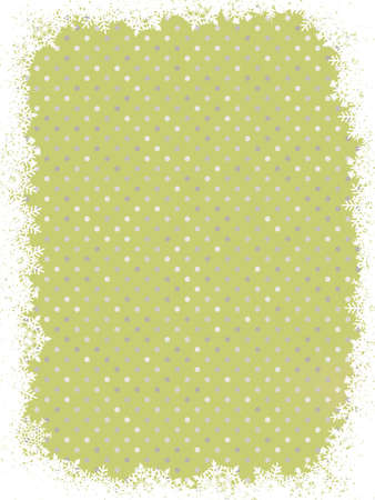 Green polka dot design frame with snowflakes  Vector