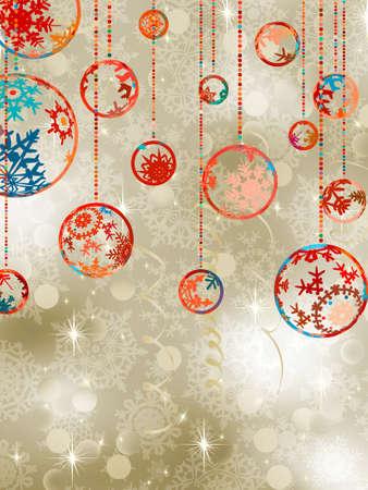 Christmas baubles on elegant background. Vector