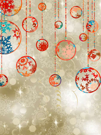 Christmas baubles on elegant background. Vector