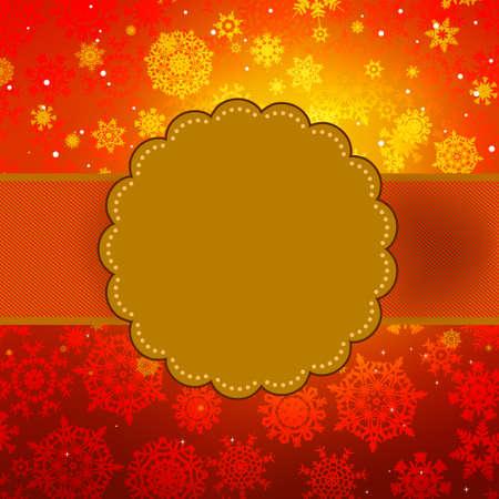 Cute warm color christmas card.  Vector