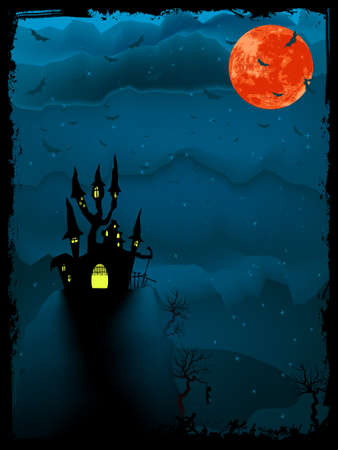 Halloween time spooky illustration with place for text.  Vector