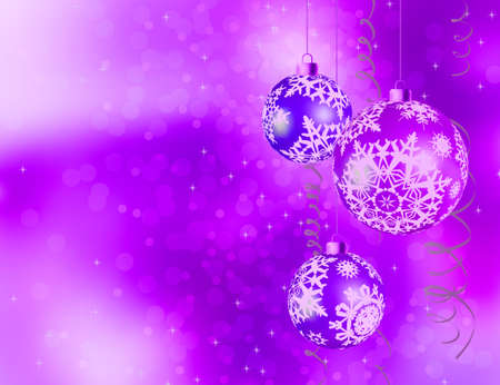 Purple shiny Christmas background.   Vector