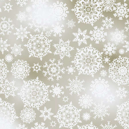Light elegant Christmas background with white snowflakes.  Vector