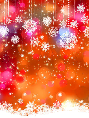 december holiday: Abstract orange vector winter background with snowflakes.