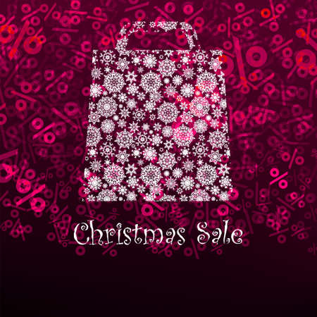 Christmas sa,e card with shopping bag. photo