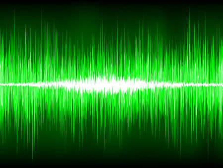 Sound waves oscillating on black background.  Vector