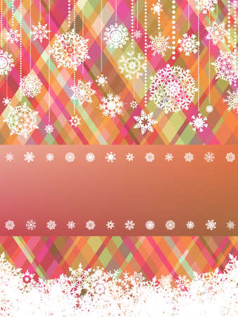 Beige christmas background with christmas snowflake. Vector