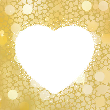 antiqued: Golden Heart bokeh frame with copy space.