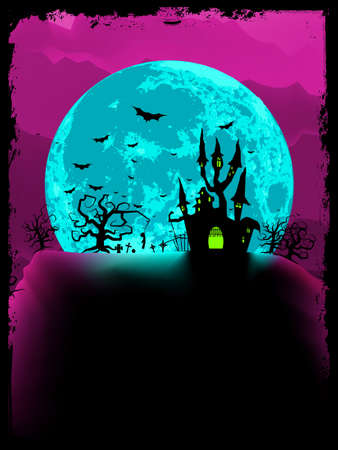 dismay: Scary halloween vector with magical abbey. EPS 8 vector file included  Illustration
