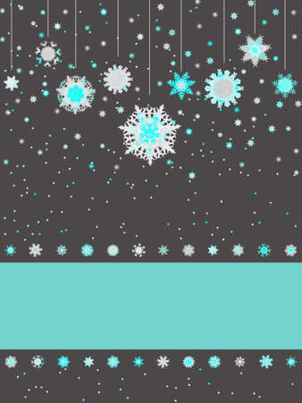 Christmas greeting card with snowflakes. Vector