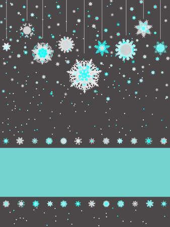 appendere: Natale biglietto di auguri con i fiocchi di neve. Vettoriali