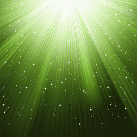 descending: Snowflakes and stars descending on a path of green light.