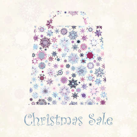 Bag For Shopping With snowflakes, On beige Background. Stock Vector - 11282038