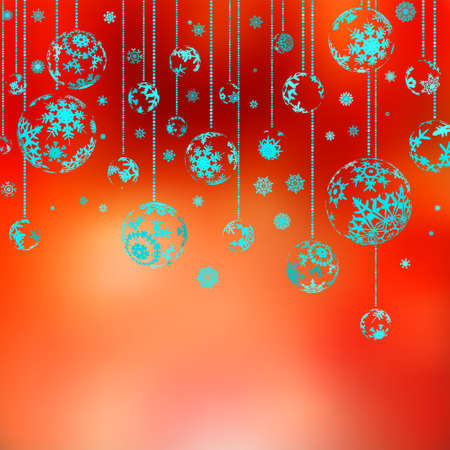 brilliant colors: Hanging Christmas Baubles Against Abstract red.
