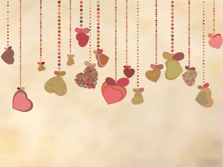 grungy header: Vintage card with valentines hearts. EPS 8 vector file included