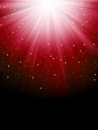 Stars on red striped background. Festive pattern great for winter or christmas themes. Vector