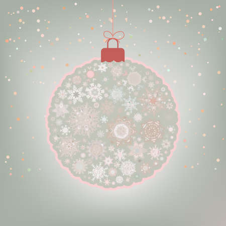 Beautiful Christmas ball card.  Vector