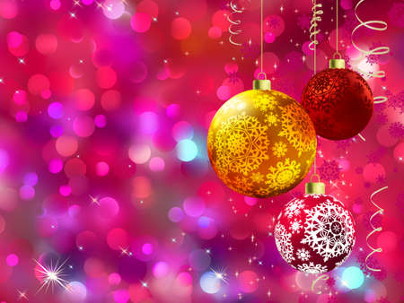 &Ntilde,hristmas background with multicolor baubles, golden streamers and defocused lights.  Stock Vector - 11585282