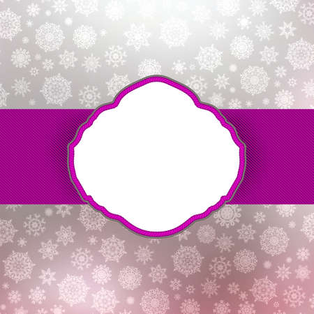 purple ribbon: Retro Christmas Card Template. Illustration