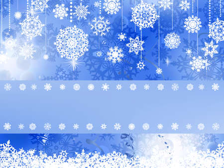 Blue christmas background with christmas snowflake. Vector