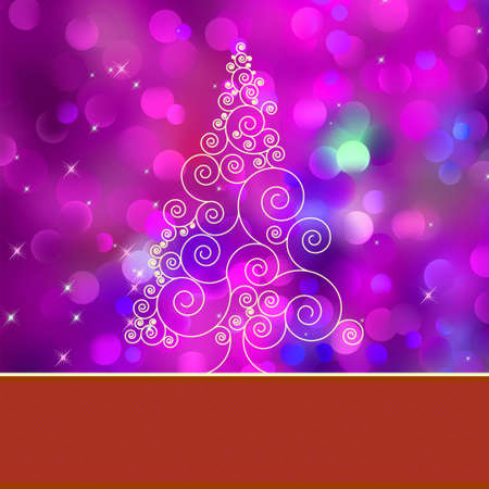 Christmas tree card with tree.  Vector