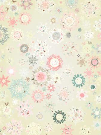 Retro Snowflakes  card background.  Vector