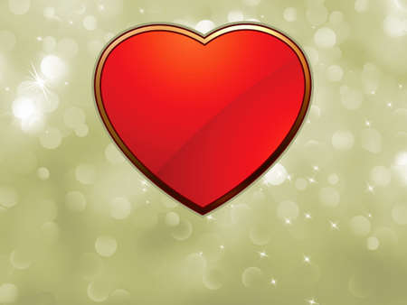Beautiful valentine bokeh Background with red heart.  Vector