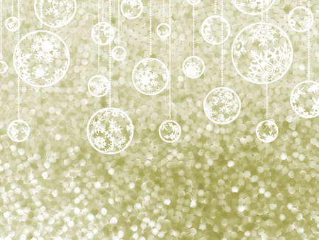 Elegant Christmas background with three evening balls and gold garlands. photo
