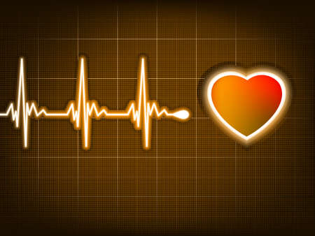 ekg: Illustration depicting a graph from a heart beat and a heart.