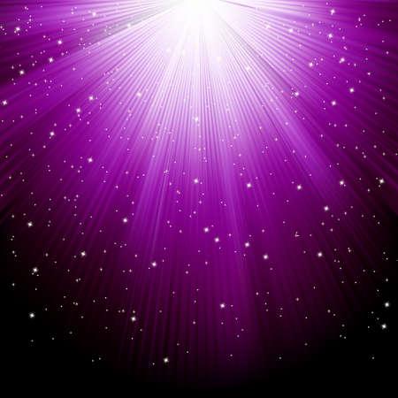 estrellas moradas: La nieve y las estrellas están cayendo en el fondo de púrpura los rayos luminosos.