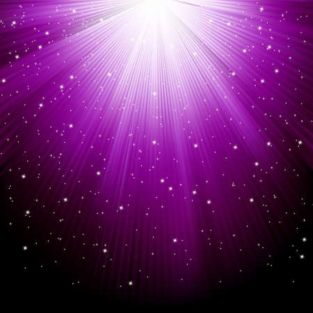 Snow and stars are falling on the background of purple luminous rays.  Stock Vector - 12273448