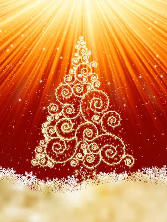 goldy: Plantilla de A�o Nuevo con las estrellas, los copos de nieve y �rboles de Navidad.