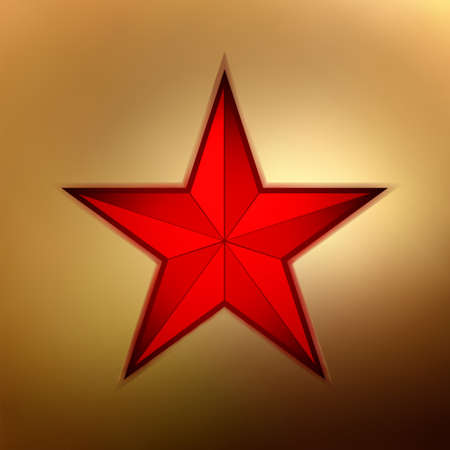 beidge: illustration of a red star on gold background.