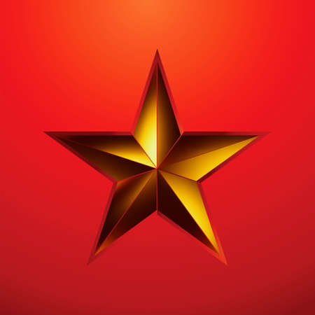 gold star: illustration of a Gold star on red background.  Illustration