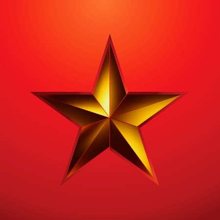 estrellas  de militares: Ilustración de una estrella de oro sobre fondo rojo. Vectores