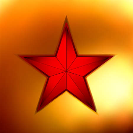 illustration of a Gold star on red background. Vector
