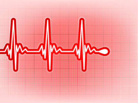 cardiograph: Heart cardiogram with shadow on it deep red.