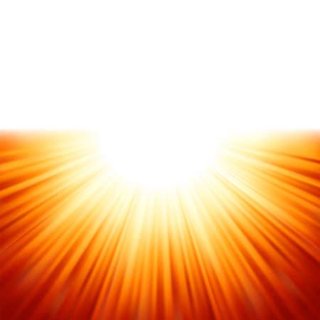 ciel rouge: Rayons Sunburst de la lumi�re du soleil tenplate