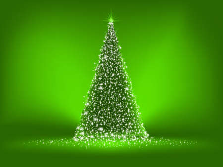 merry christmas banner: Abstract green christmas tree on green