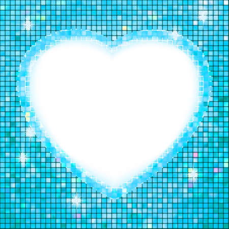 Blue frame in the shape of heart   Vector