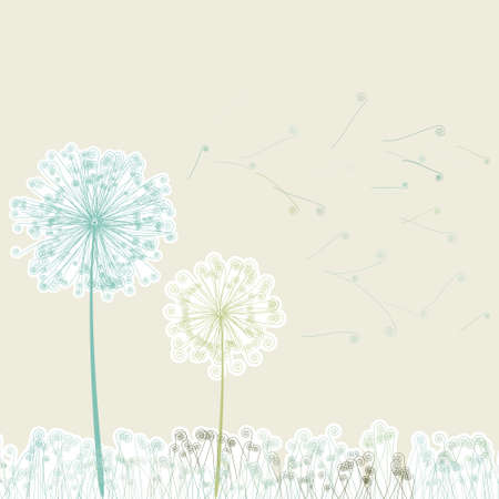 Vintage two dandelions in wind on light   Vector