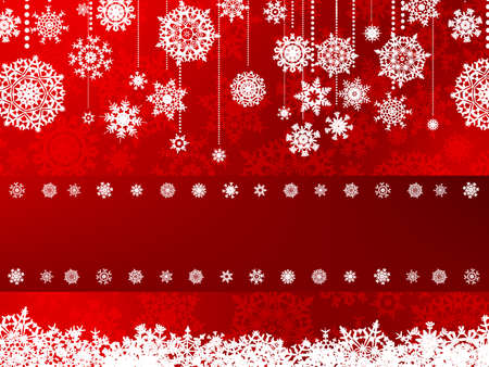 Red  card with snowflakes  Vector