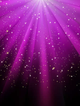 purple stars: Snow and stars are falling on the background of purple luminous rays