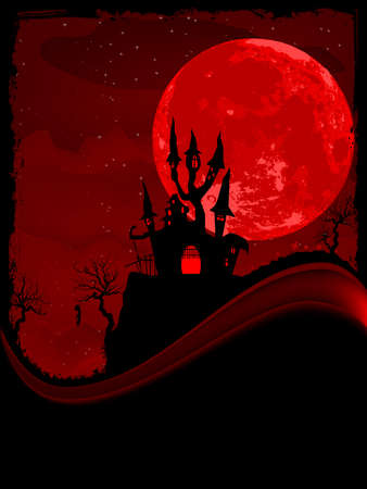 Scary Halloween Castle with Copy Space illustration  Vector